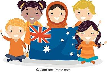 gosses, jour, australie, stickman, illustration, harmonie
