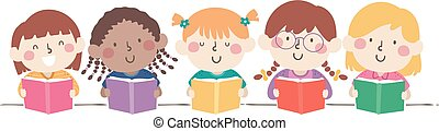 gosses, livre, filles, illustration