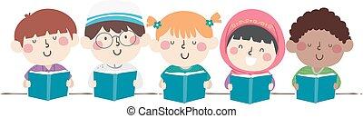 gosses, livres, diversité, lire, illustration