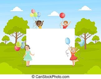 gosses, mignon, bannière, tenue, coloré, illustration, vide, vide, heureux, vecteur, ballons
