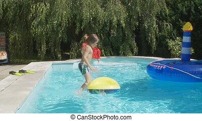gosses, mo, sauter, slo, piscine, natation