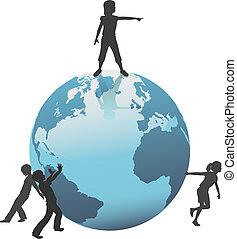 gosses, mouvement, avenir, la terre, mondiale, sauver