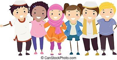 gosses, musulman, stickman, non, amis