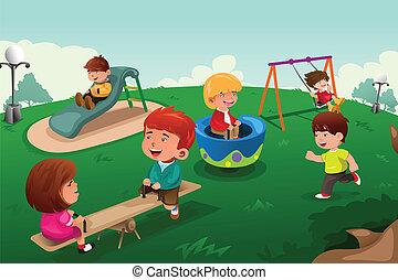 gosses, parc, jouer