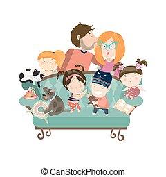 gosses, parents, animaux familiers, heureux