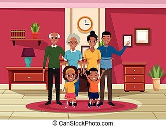 gosses, parents, grands-parents, famille, dessins animés