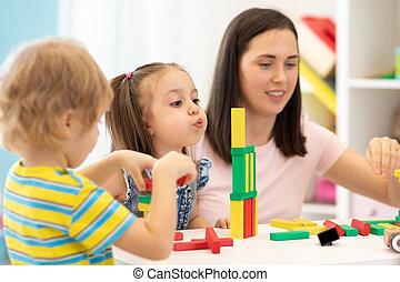 gosses, prof, jardin enfants