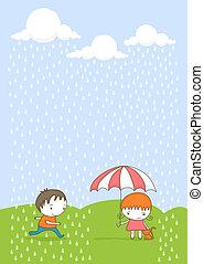 gosses, rain.