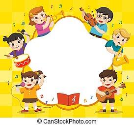 gosses, regard, instruments, group., enfants, haut, interest., concept, musique, publicité, brochure., .template, musical, jouer