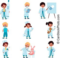gosses, robe, enfants, vecteur, therapists., garçons, pilules, prise, girsl, role-playing, doctors., outils, hôpital, jouet, monde médical, jeu, ensemble, malades, réception, dessin animé, thermomètre