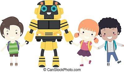 gosses, robot, autobus, école, illustration