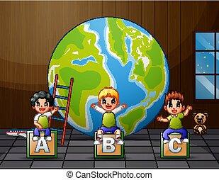 gosses, séance, dessin animé, alphabet, abc