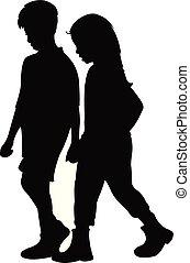 gosses, silhouette, ensemble