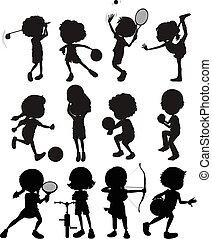 gosses, silhouette, jouer, sports