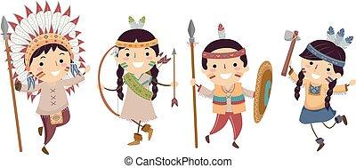 gosses, stickman, equipements, indien amérique, indigène