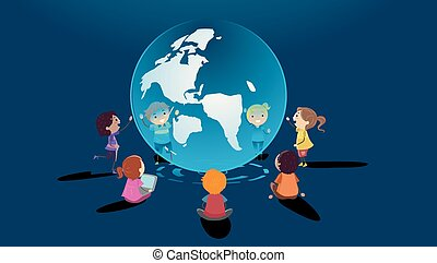 gosses, stickman, globe, virtuel, illustration, apprentissage