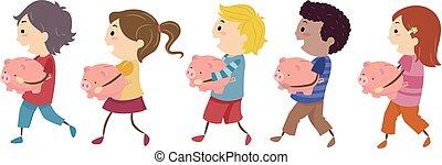 gosses, stickman, illustration, promenade, tirelires