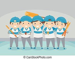 gosses, stickman, intérieur, grillon, équipe, illustration