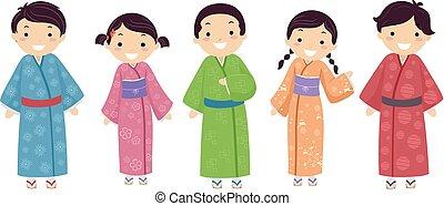 gosses, stickman, japonaise, illustration, kimono