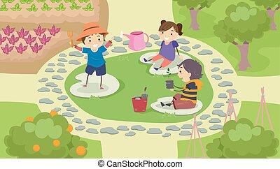 gosses, stickman, jardin, espace