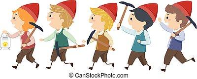 gosses, stickman, nains, mineurs, illustration, marcher