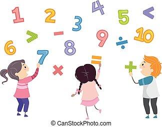 gosses, stickman, nombres, math