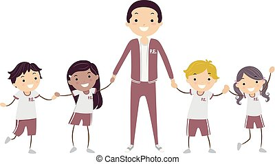gosses, stickman, prof, illustration, uniforme