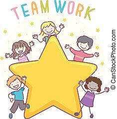 gosses, stickman, travail, illustration, équipe, étoile