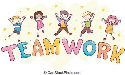 gosses, stickman, travail, illustration, saut, équipe