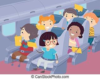 gosses, voyage, illustration, stickman, avion