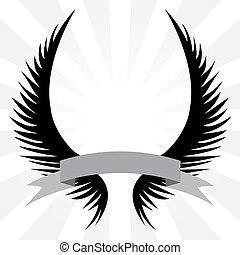 gothique, ailes, crête