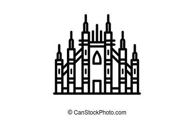 gothique, milan, basilique, animation, icône