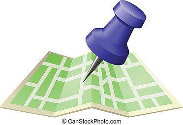 goupille carte, illustration, rue, poussée, dessin