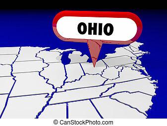 goupille carte, oh, destination, illustration, état, emplacement, ohio, 3d