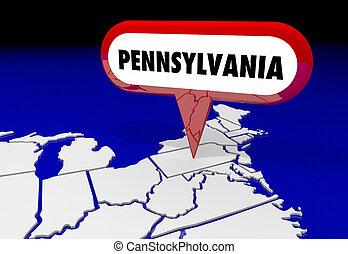 goupille carte, pennsylvanie, destination, illustration, état, papa, emplacement, 3d