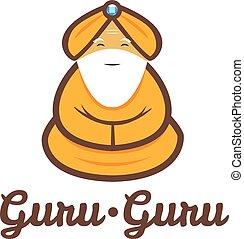 gourou, moderne, méditer, vecteur, minimalistic, logo