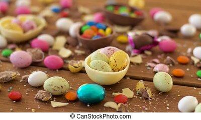 goutte, bonbons chocolat, paques, table, oeufs