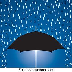 gouttes, parapluie, pluie, protection