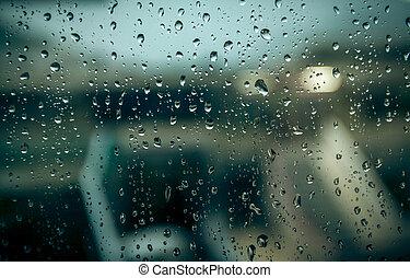 gouttes pluie, bâtiment, fenêtre, brouillé
