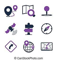 gps, navigation, icônes