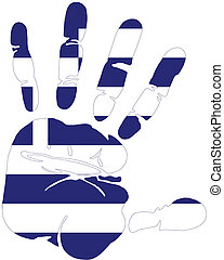 grèce, handprint, drapeau