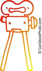 gradient, appareil photo, dessin, chaud, ligne, dessin animé, pellicule