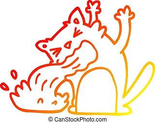 gradient, chat, être, chaud, malade, dessin ligne, dessin animé