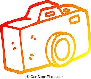 gradient, chaud, dessin, appareil photo, ligne, dessin animé