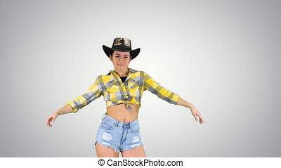 gradient, danses, cow-boy, marche, arrière-plan., girl