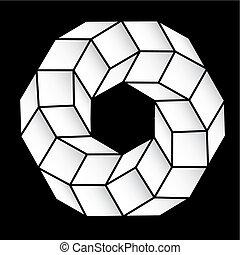 gradient, figure, vecteur, polyhedral, étoile, 3d.