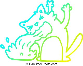 gradient, ligne, chat, etre malade, froid, dessin, dessin animé