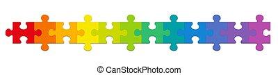 gradient, rang, arc-en-ciel a coloré, morceaux puzzle