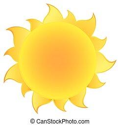 gradient, soleil, silhouette, jaune