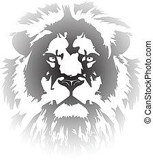 gradient, tatouage, lion, tête